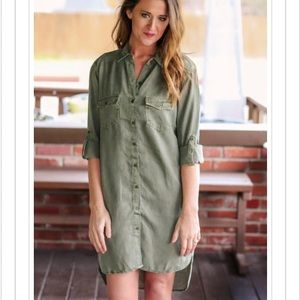 Anthropologie Faded Army Green Military Dress